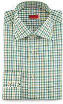 Isaia Check Woven Dress Shirt, Green/Yellow