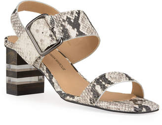 Neiman Marcus Edna Snake-Embossed Sandals