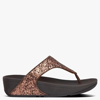 FitFlop Lulu Glittsy Chocolate Metallic Toe Post Sandals