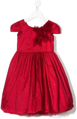 MonnaLisa Floral Applique Bow Detail Dress