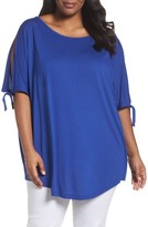 Sejour Plus Size Women's Tie Cold Shoulder Tee