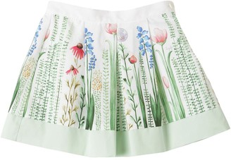 Il Gufo Flower Printed Cotton Poplin Skirt