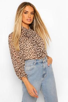 boohoo Leopard Pussy Bow Peplum Blouse