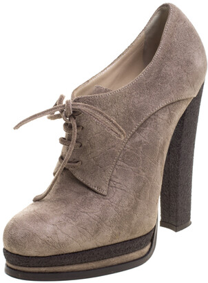 Casadei Brown Suede Lace Up Derby Platform Ankle Boots Size 36