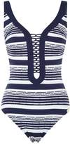 Maryan Mehlhorn Cruise Stripe Laced Front Swimsuit