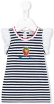 MonnaLisa striped strawberry detail top - kids - Cotton/Spandex/Elastane - 3 mth