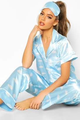 boohoo Satin 3pc Cloud Trouser Pyjama Set