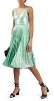 Topshop Women's Metallic Plunge Pleat Midi Dress