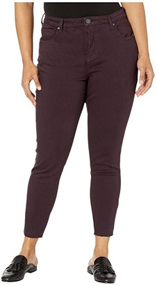 KUT from the Kloth Plus Size Donna High-Rise Ankle Skinny Raw Hem in Eggplant (Eggplant) Women's Jeans