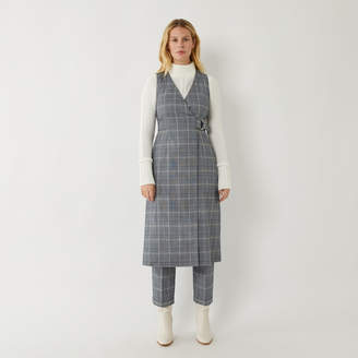Warehouse CHECK MIDI PINAFORE DRESS