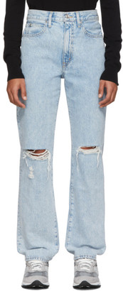 SLVRLAKE Blue London High-Rise Straight-Leg Jeans
