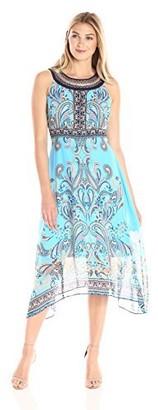 Sandra Darren Women's Sleeveless Printed Midi Chiffon Necklace Dress