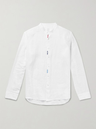 Altea Slim-Fit Embroidered Grandad-Collar Linen Shirt