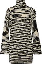 Missoni Crochet-knit Wool-blend Turtleneck Mini Dress - Black