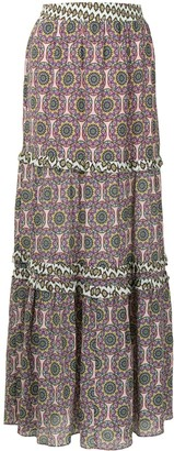 Nicole Miller Abstract-Print High-Waisted Skirt