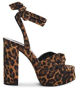 Saint Laurent Women's Bianca Leopard-Print Suede Platform Sandals