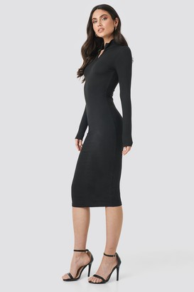 NA-KD Front Zipper Skin Tight Jersey Dress Black