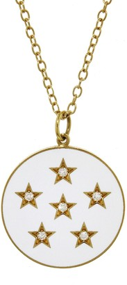 Andrea Fohrman Diamond and White French Enamel Full Moon Yellow Gold Necklace