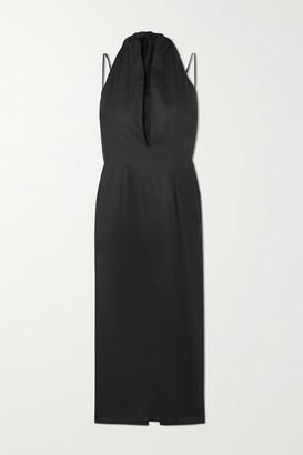 ALEKSANDRE AKHALKATSISHVILI Draped Herringbone Cotton Midi Dress - Black