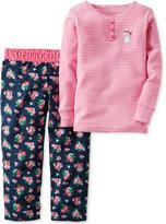 Carter's Toddler Girls' 2-Pc. Long-Sleeve Striped Bunny Henley & Mixed-Print Pants Pajama Set