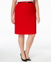 Calvin Klein Plus Size Belted Straight Skirt
