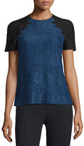 Christopher Kane Floral Lace Top w/Contrast Sleeves, Navy