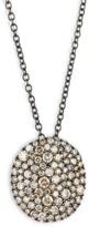 Vibrant 18K Rose Gold & Brown Diamond Disc Necklace