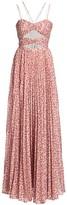 AMUR Lana Cutout Bodice Pleated Maxi Gown