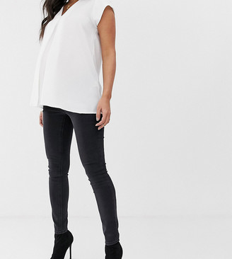 ASOS DESIGN Maternity high rise ridley 'skinny' jeans in washed black with under the bump waistband