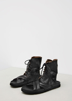 Ann Demeulemeester glace nero washed lace up sandal