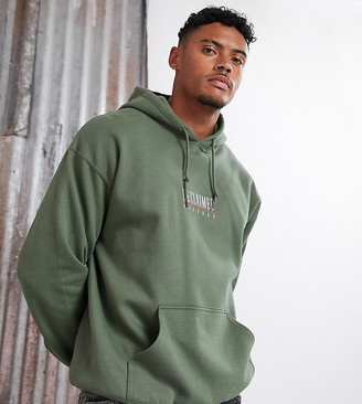 Reclaimed Vintage inspired logo hoodie in khaki overdye