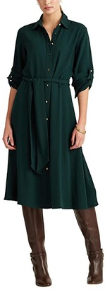 Lauren Ralph Lauren Fit-and-Flare Shirtdress (Deep Pine) Women's Dress