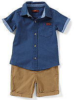 7 For All Mankind Baby Boys 12-24 Months Short-Sleeve Pocketed Shirt & Cuffed Shorts Set
