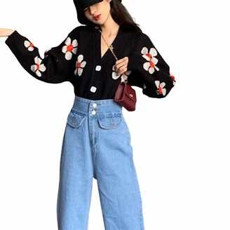Nensiche Women's Floral Print Smiley Face Knitwear Cardigan Button Down V Neck Long Sleeve England Style Y2K Cropped Sweater Tops (Black One Size)