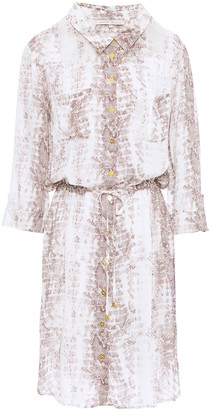 Heidi Klein Alhambra Snake-print Voile Mini Shirt Dress