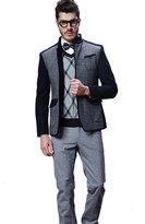 Chickle Men's Stand Collar Colorblock Single Breasted Wool Coat Jacket 3XL