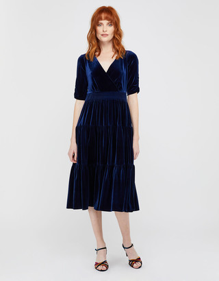 Monsoon Stevie Smock Velvet Midi Dress Blue