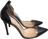 Gianvito Rossi Plexi Black Leather Heels