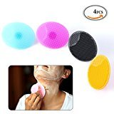 OR Pure Silicone Makeup Cleaner Brush Precision Pore Cleansing Pad Anti-slip Blackhead Remover Facial Cleansing Friction Pad Face Skin Care Deeper Clean Exfoliate Skin Random Color 4 Pack