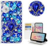 HTC Desire 626/626s Case,Yaheeda 3D Handmade Wallet Bling Crystal PU Leather with Sparkle Diamond Flower Butterfly Design Card Holder Flip Case Folio Cover for HTC Desire 626