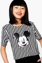 boohoo Girls Glitter Ears Stripe Cropped Tee
