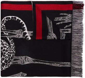 Alexander McQueen Animal Skeleton Print Scarf