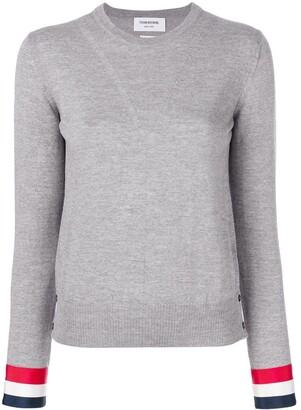 Thom Browne Grosgrain-Cuffed Fine Merino Wool crew neck Pullover