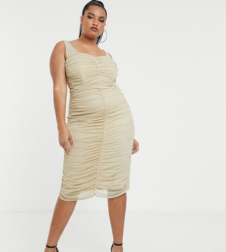 TFNC Plus shimmer mesh ruched midi dress in light gold