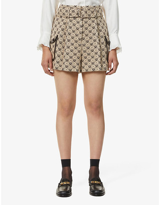 Sandro Johnny high-waisted monogram shorts