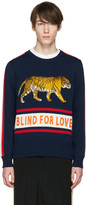 Gucci Navy blind For Love Tiger Sweater