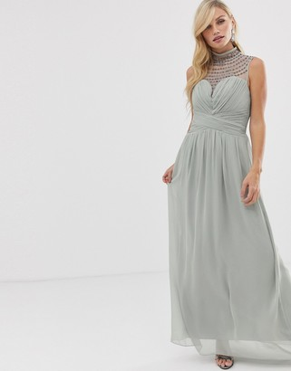 Little Mistress high neck detail maxi dress