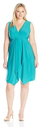 Star Vixen Women's Plus Size Sleeveless Surplice Empire Waist Bodice Cascade Tulip Wrap Skirt Short Ity Knit Dress