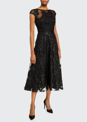 Lela Rose Boat-Neck Shimmered Lace Illusion Dress