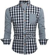 uxcell Allegra K Men Long Sleeve Point Collar Leisure Plaid Shirt L
